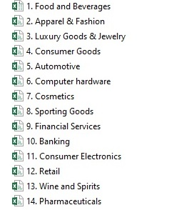 14 lists - Different categories